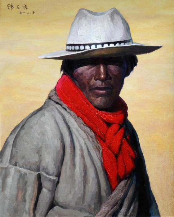 韩玉臣油画《牧羊人》尺寸800×1000mm.jpg